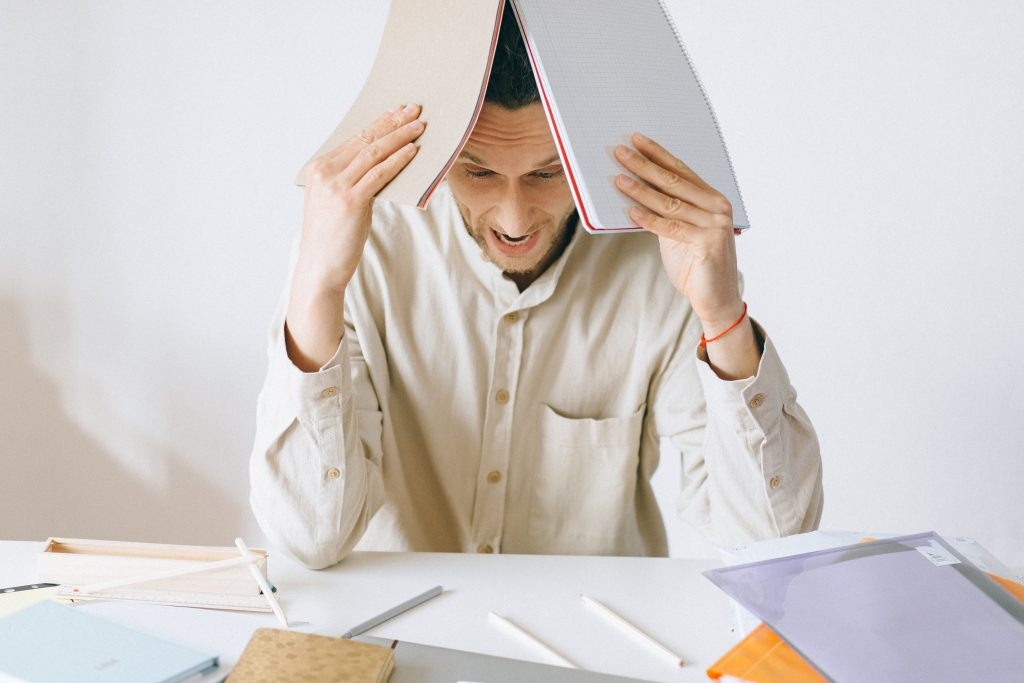 A man who is stressed with work